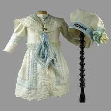 Gorgeous white pique one of a kind couturier mariner/sailor doll dress with exceptional collar and matching MIGNON beret.