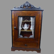 """23"""" antique wooden  French Dolls Cabinet/Armoire with tea service from the middle of the 19th century."""