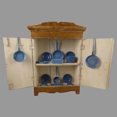 "18"" Rare Original Antique  Wooden Doll Kitchen cabinet with blue enamel graniteware service"