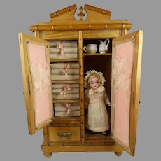 Marvelous Antique French Linen Cabinet with doll and accessories