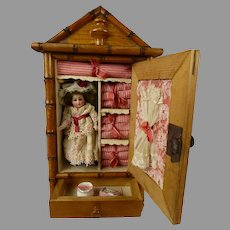 Marvelous Small Antique French Faux-Bamboo Linen Cabinet with sweet all bisque doll