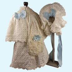 Three-piece Antique Original French  white eyelet lace doll Coat-Dress with Capelet, Bonnet and Bag, appr. 1880