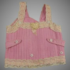 """Rare Wonderful Large Antique Original French Pink Corset/Stay for a doll of ca 29""""(75cm)"""