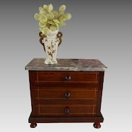 Beautiful Antique French Mahogany Miniature Commode from the end of the nineteenth century.