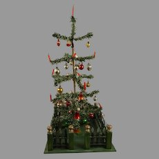 Antique Original German Paper- Feather Christmas Tree with rare wooden fence