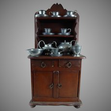 Rare Early Original Antique  Wooden Doll Kitchen cabinet with pewter tea service mid 19th Century