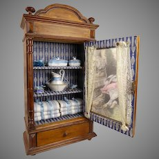 Antique French Wooden Cabinet with toilette set and linen, from the end of the 19th century