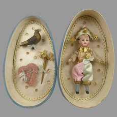 Sweet Antique Fine Flowered Silk Presentation Egg with Antique Polichinelle doll with his Accessories