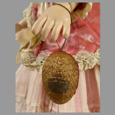 Sweet little Gem :  Tiny Antique Very Fine Wicker Presentation Egg with bisque doll and sheep