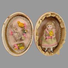 Original Antique Pink Silk Easter Presentation Egg with all bisque mignonette doll