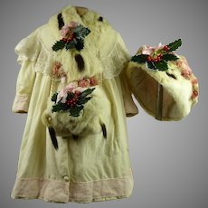 Wonderful four-piece antique Original French Christmas Wool and Ermine doll ensemble