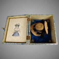 """Hard to find French Small Doll Hat """" A Deux Bonjours"""" with original inner-bonnet in wooden box  from ca 1880"""