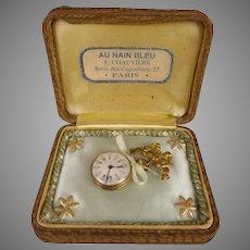 """Antique French Doll Watch circa 1880 in an """"AU NAIN BLEU"""" Box"""