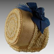 Wonderful and rare original antique beaded French fine straw hat from ca 1870