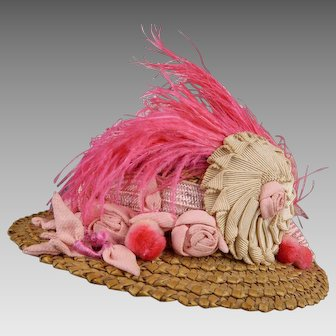 Marvelous French Antique Straw Hat for your Fashion Doll or Bébé