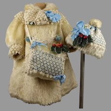 Antique French Three-piece Faux Fur doll Winter Ensemble with bonnet and muff