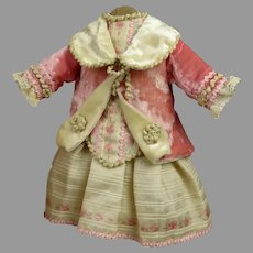 Exquisite velvet and patterned silk antique doll dress with wonderful matching lace bonnet