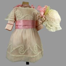 Three-piece Antique Original French tulle ensemble with wonderful embroidery appr. 1890