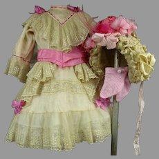 Marvelous Three-piece Antique Dolls  Costume, Dress, Bonnet and Socks