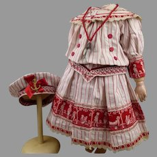 Marvelous  French antique doll sailor/mariner dress with a matching beret