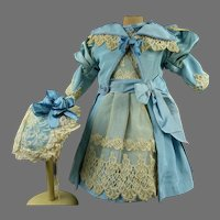 Gorgeous heavenly blue silk and lace antique doll dress with antique matching bonnet