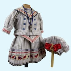Lovely French antique doll sailor/mariner dress with a matching beret
