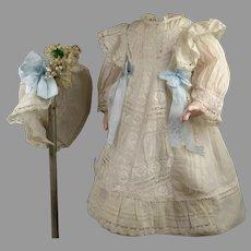 1870's Antique Original Fine Batiste Doll Dress with matching Bonnet
