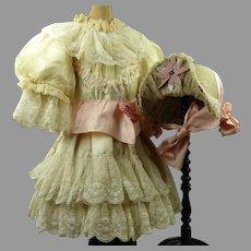 """1870's Antique Original Silk French Doll Dress with matching """"Au Deux Bonjours"""" Bonnet"""