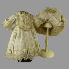Sweet one of a kind couturier high waist doll ensemble, dress and exceptional matching hat