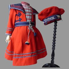 Marvelous red wool mariner/sailor couturier doll dress and matching VICTORY beret with AMERICAN flag.