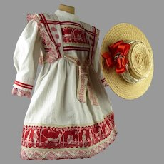 Marvelous French antique doll sailor/mariner dress with a wonderful straw hat