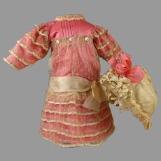 Exquisite French dotted tulle and pink silk doll dress with matching bonnet
