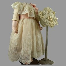 Antique original French tulle dress and matching bonnet with marvelous rich embroidery ca 1890