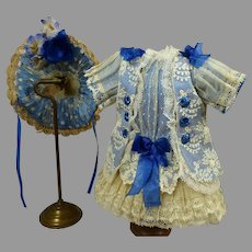Three-piece French doll costume, dress, hat and socks