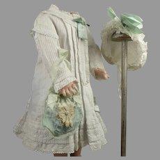 Three-piece Antique Original White Pique Doll Costume, dress, bonnet and purse from ca 1880