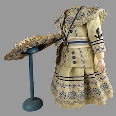Three-piece sailor/mariner creamy striped silk doll costume with a bonus
