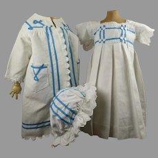 Original Antique three-piece pique doll ensemble ca 1880