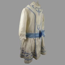 Original Antique Pique Doll Dress with wonderful Embroidery