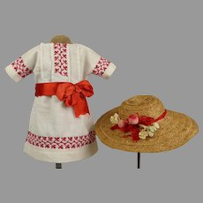Original K & R Antique Pique Doll Summer Dress with matching straw hat