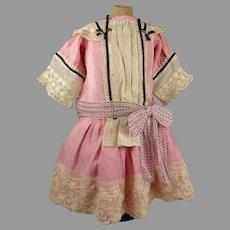 Original Antique Pink Silk Doll Dress