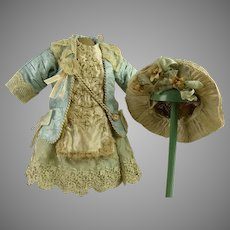 One-piece French aqua silk  and lace antique doll couturier dress with original antique hat