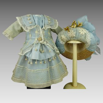 Wonderful French light blue silk velvet and patterned gauze couturier antique doll dress with a matching hat.