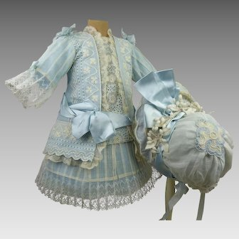 French blue and white batiste dropped-waist antique dolls dress with matching hat for Jumeau, Bru, Steiner, Gaultier or other Bébé