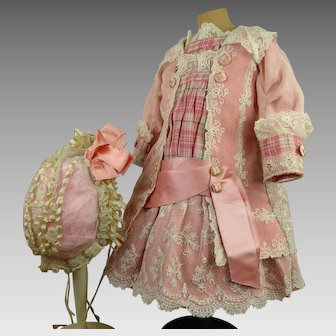 French pink satin and lace antique doll dress with matching bonnet for Jumeau, Bru, Steiner, Gaultier or other Bébé