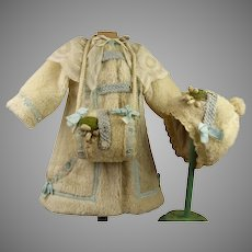 Wonderful French Three-piece Faux-Fur antique doll Winter Ensemble with bonnet and muff