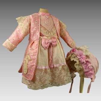 French pink flowered silk one-piece couturier antique doll dress with matching bonnet
