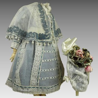 Beautiful  French 3-piece  Petrol coloured silk and gauze antique doll ensemble, capelet , dress and bonnet