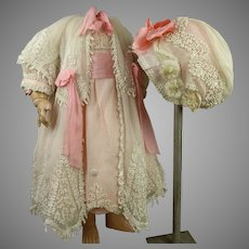 Exceptional Four-piece antique original French tulle ensemble with rich embroidery appr. 1890