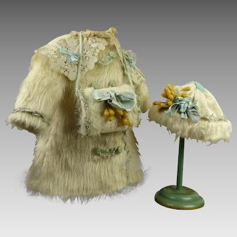 Wonderful French Three-piece Faux-Fur antique dolls Winter Ensemble with bonnet and muff