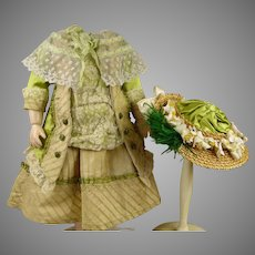 Exceptional 3- piece French creamy and light green silk and lace antique dolls couturier ensemble